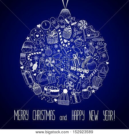 Christmas and New Year - sketch doodle set. Various hand-drawn items arranged as ball on a blue background. Vector illustration with lettering