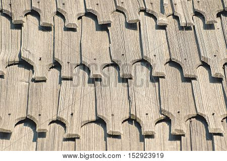 Background of an Old Wooden Roof Tiles