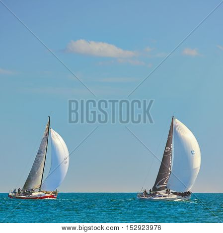 VARNA, BULGARIA - September 30, 2016: Yacht Regatta Pro-Am Race along the Bulgarian Black Sea Coast