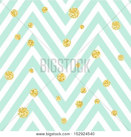 Chevron zigzag blue and white seamless pattern with golden shimmer polka dots. Vector geometric stripe with glitter spots