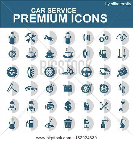 Car icon set wash automobile grey white background