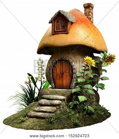Fairy mushroom house with flowers 3D illustration