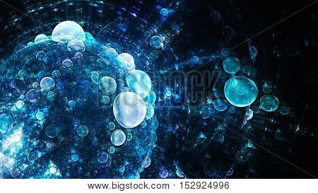 World bubbles. Water droplets under microscope. 3D surreal illustration. Sacred geometry. Mysterious psychedelic relaxation pattern. Fractal abstract texture. Digital artwork graphic astrology magic