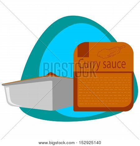 Curry sauce in the package of fast food, completely ready to use