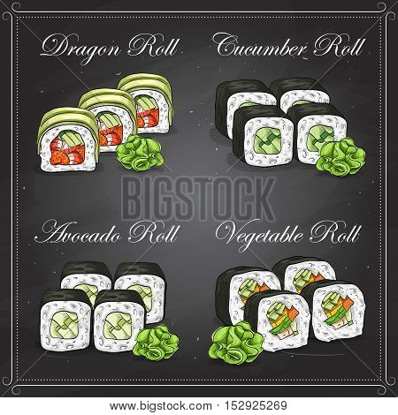 Vector Sushi sketch and color, set of four types of sushi on a blackboard