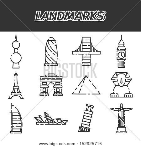 World landmarks icons decorative set with colosseum taj mahal pisa tower isolated vector illustration