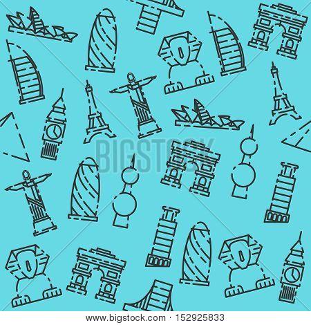 World landmarks pattern. Vector illustration EPS 10