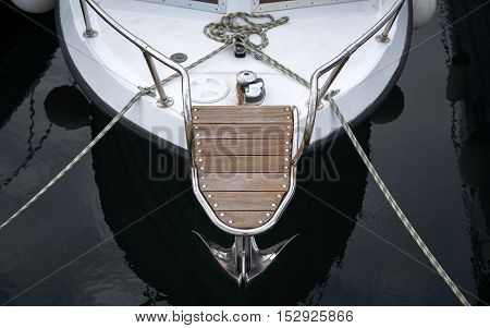 Luxury boat closeup photo on the water