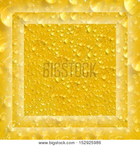 Positive bright background: Drops on yellow. Dew in the sun. Close-up. Blur.
