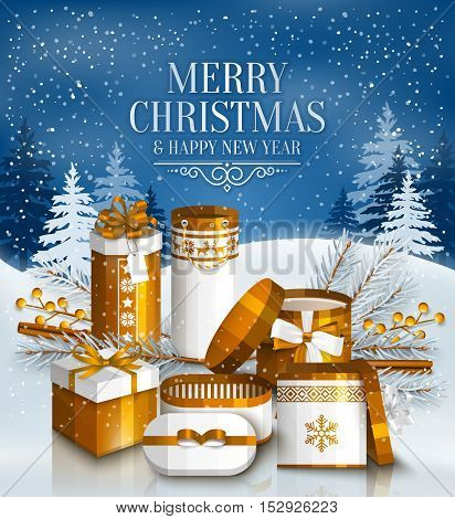 Merry Christmas card with pile of white and golden wrapped gift boxes, fir branches and yellow berries. Snowy landscape.