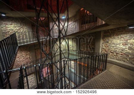 Spiral staircase going up to the tower