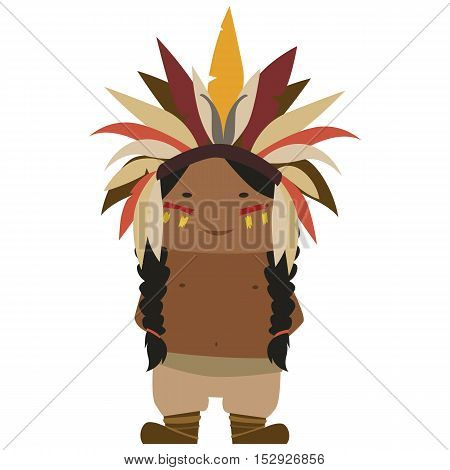 Image of a cartoon native american wearing a feather hat
