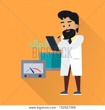 Scientist at work illustration. Vector in flat style. Scientific icon. Male in white gown takes the readings from laboratory instruments. Educational experiment. On orange background with shadow
