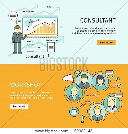 Consultant and workshop vector web banners. Flat style. Self development. Expert information support. Illustration for educational, consulting companies, career courses advertising, web page design