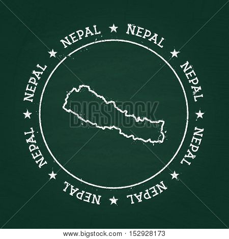 White Chalk Texture Rubber Seal With Federal Democratic Republic Of Nepal Map On A Green Blackboard.