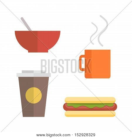 Office lunch set. Red plate, brown paper cup with coffee, hot dog, orange cup of hot drink. Food elements in flat style on white background. Fast food. Time break.