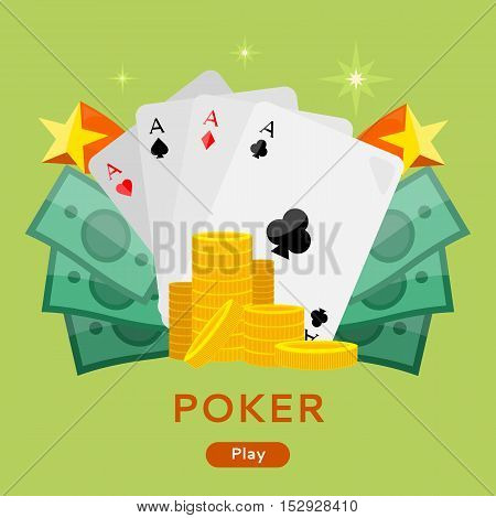 Poker concept vector web banner in flat style. Cards with aces, dollar bills, golden coins. For gambling online services ad, sport lottery services startups, landing page design. On green background