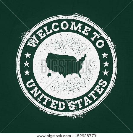White Chalk Texture Retro Stamp With United States Of America Map On A Green Blackboard. Grunge Rubb