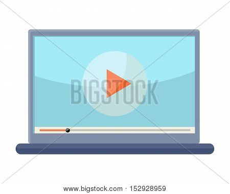 Laptop vector illustration. Flat design. Notebook with video player on screen. Watching online video. Picture for writing, coding concept, app icon, logo design. Isolated on white background.