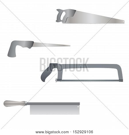 Set of different kinds of saws back saw, compass saw, hacksaw, handsaw , realistic illustration for web or typography magazine, brochure, flyer, poster , monochrome, EPS 10.