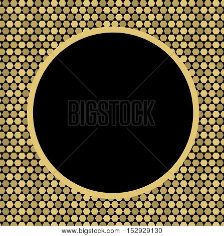 Beautiful Golden pixel background with a black circular frame. Pattern to decorate greetings or decorative album or scrapbook. festive vector illustration