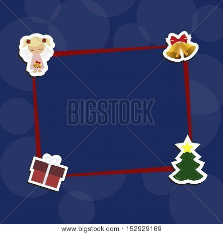 Christmas blue background with red frame with decorative Christmas stickers. Pattern to decorate greetings cards or decoration of an album page or scrapbook. Baby vector illustration