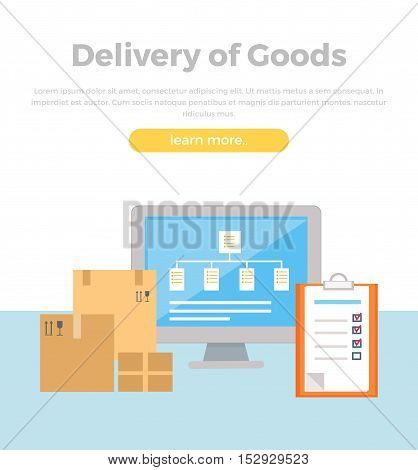 Delivery of goods concept web banner. Flat style. Logistic concept with cardboard boxes, program interface on screen, tablet. Illustration for delivery, retail companies and services web pages design.