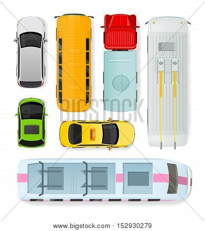 Set of transport units. Public and private types of transportation. Car vehicle, truck van, taxi auto cargo, bus and automobile, train, trolleybus illustration. Car icon. Transport icon set. Vector