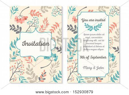 Wedding invitation card with abstract floral background. Vector illustration