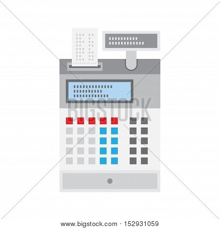 Cash register flat icon isolated on white background vector illustration