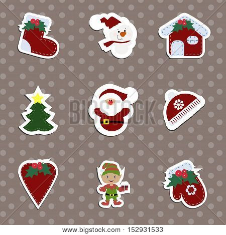 A set of children's Christmas stickers. Collection of label templates to decorate greetings or gift. Baby vector illustration.