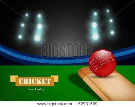 Illustration of cricket stadium with bat and ball