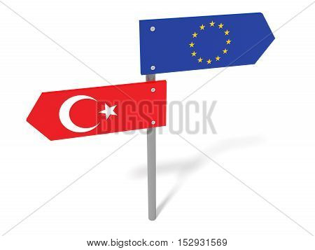Disagreement: Turkey And EU Road Sign Pointing In Opposite Directions 3d illustration