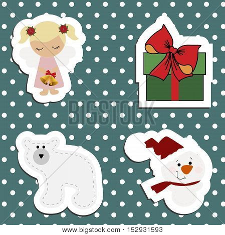 Set a festive children's Christmas stickers. New year collection of label templates and decals for decorating greeting or gift. There's a girl angel polar bear gift box and snowman. Baby vector illustration.