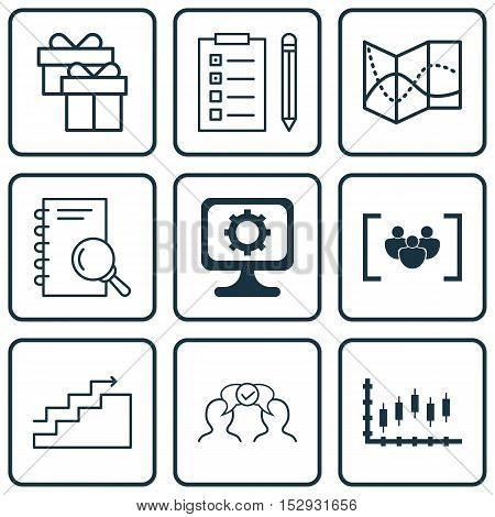 Set Of 9 Universal Editable Icons For Business Management, Travel And Computer Hardware Topics. Incl
