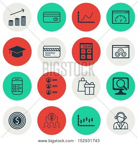 Set Of 16 Universal Editable Icons For Management, School And Travel Topics. Includes Icons Such As