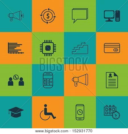 Set Of 16 Universal Editable Icons For School, Computer Hardware And Statistics Topics. Includes Ico