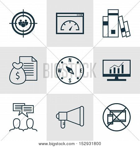 Set Of 9 Universal Editable Icons For Transportation, Marketing And Advertising Topics. Includes Ico