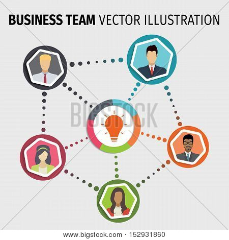 Business team infographic with man and woman. Vector illustration