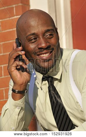 Successful middle-aged African American businessman talking on mobile phone