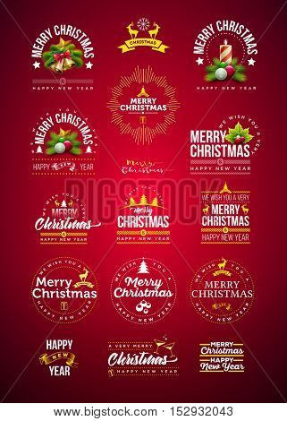 Vector Christmas and new year decoration collection. Typographic and calligraphic design set with icon and symbol elements.