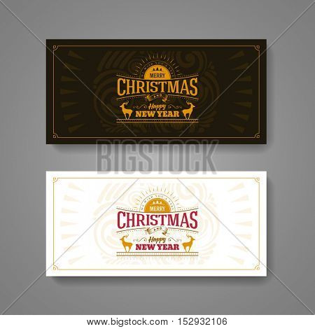 Christmas and New Year Greeting Card Design set. Elements are layered separately in vector file.