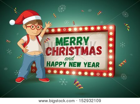 Kid with santa hat and Christmas and new year message light signboard. Vector illustration.