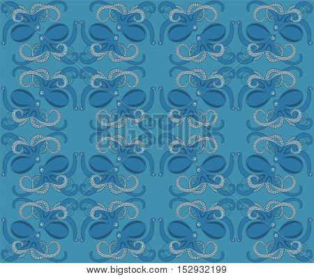 blue background with ornament of octopus vector illustration seamless pattern