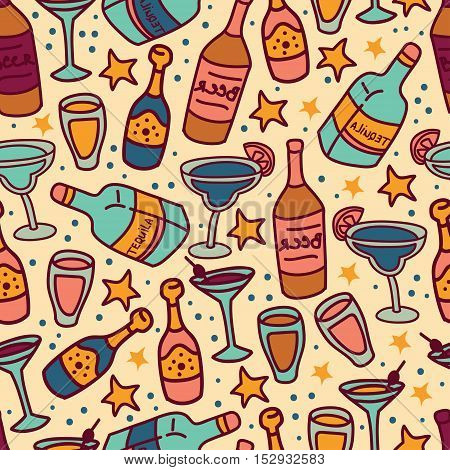 seamless pattern with cocktails and bottles of alcohol, cartoon style, vector illustration