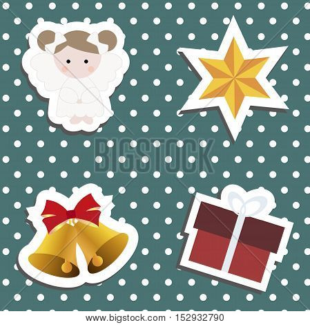 Set a festive children's Christmas stickers. New year collection of label templates and decals for decorating greeting or gift. There is an angel girl gift box bell and star . Baby vector illustration.