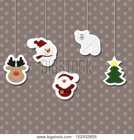 Set a festive hanging Christmas children's stickers. New year collection of label templates and toys for decoration of greeting or gift. There is a deer head Rudolph snowman Santa Claus polar bear and spruce. Baby vector illustration.