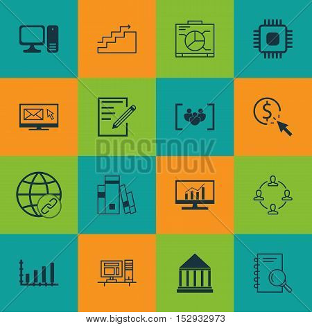 Set Of 16 Universal Editable Icons For Computer Hardware, Seo And Project Management Topics. Include