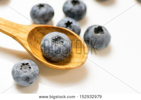 Big Ripe Blueberries On White Background Close Up