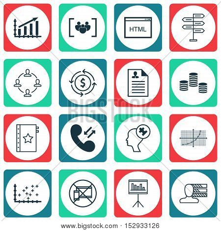 Set Of 16 Universal Editable Icons For Project Management, Management And Marketing Topics. Includes